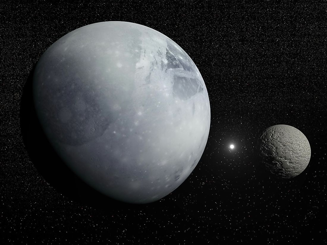 Pluto and its moon Charon. Pluto is often regarded as a minor planet.