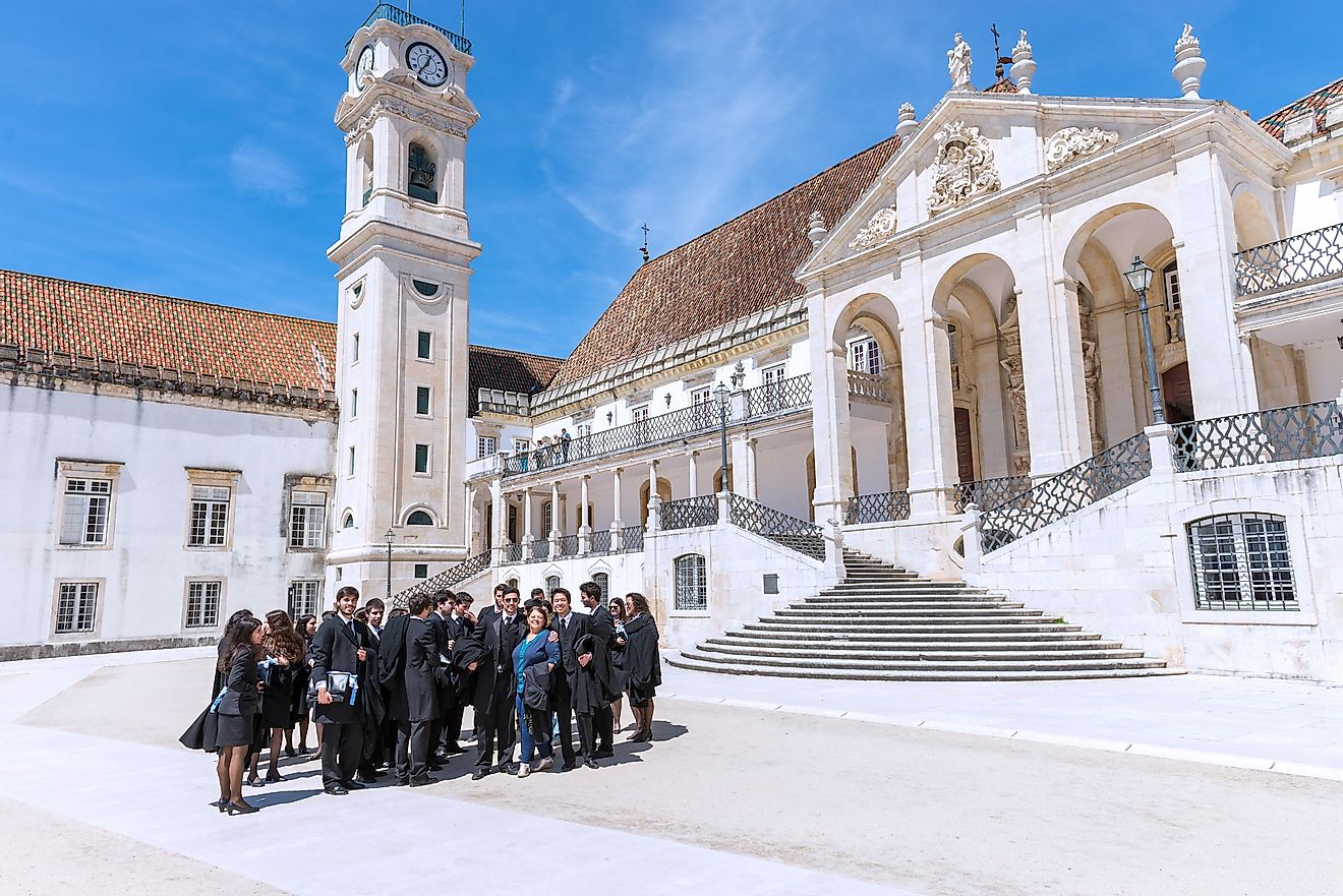 Students celebrating their graduation in Coimbra, Portugal.