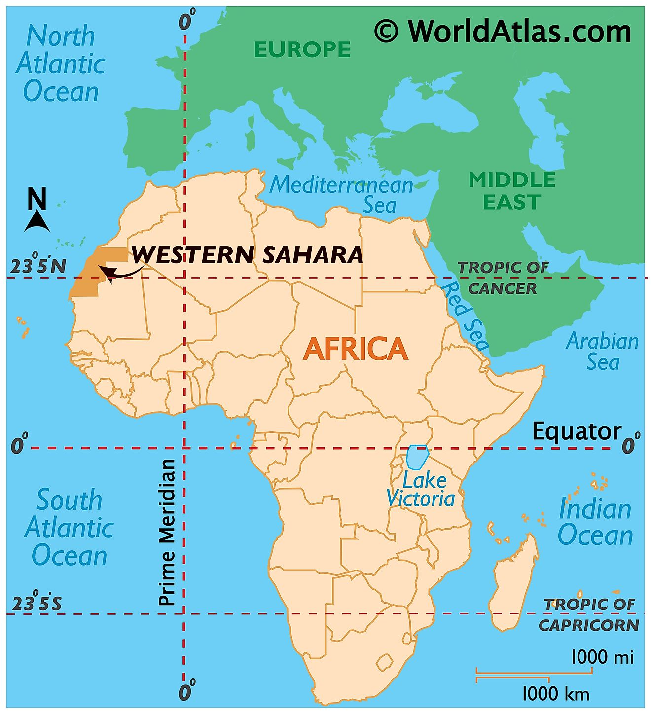 Map showing location of Western Sahara in the world.