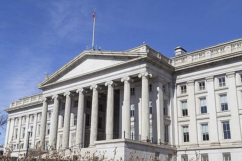 The United States Treasury headquarter building in Washington, D.C., U.S.A.