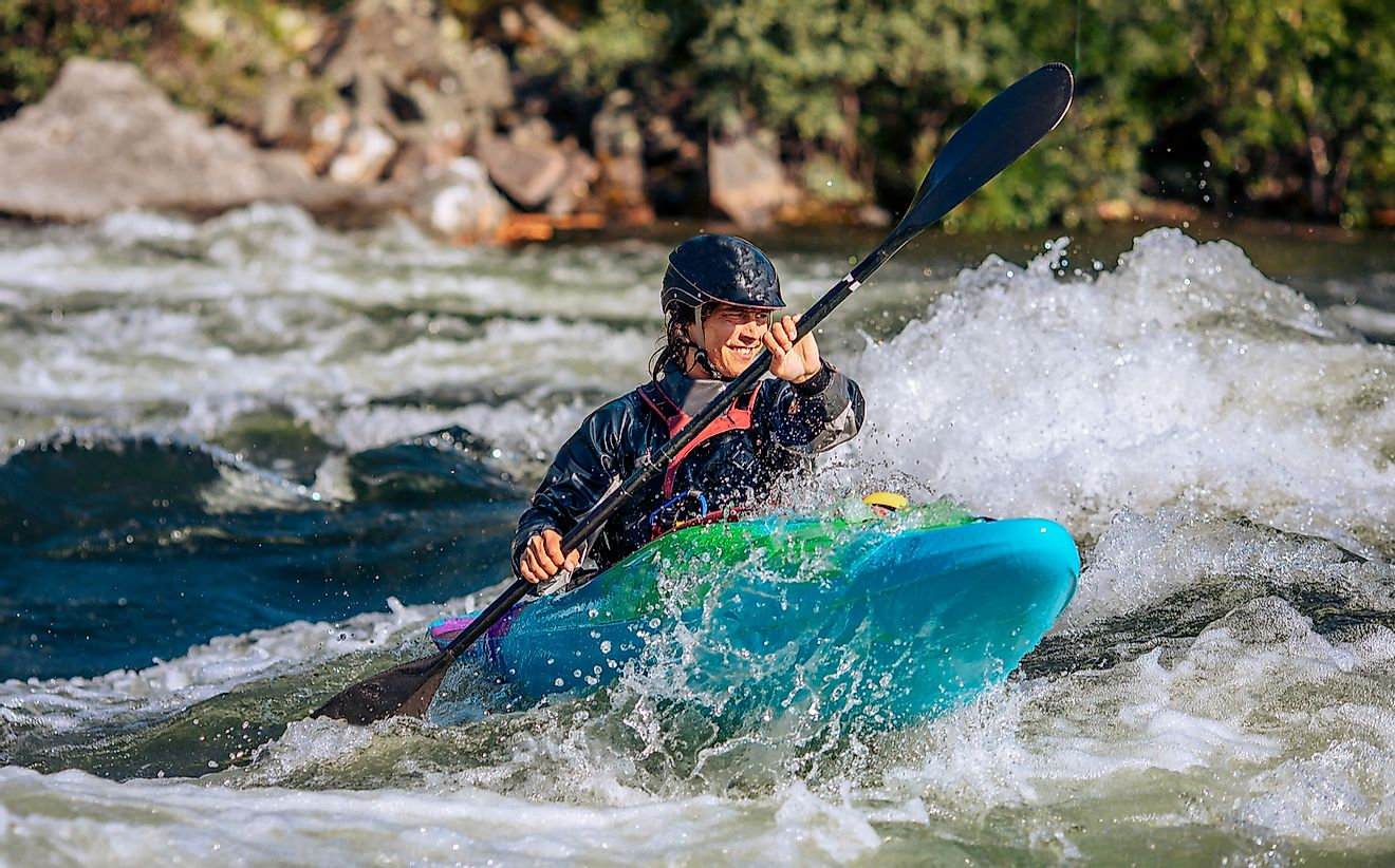 A whitewater kayaker.