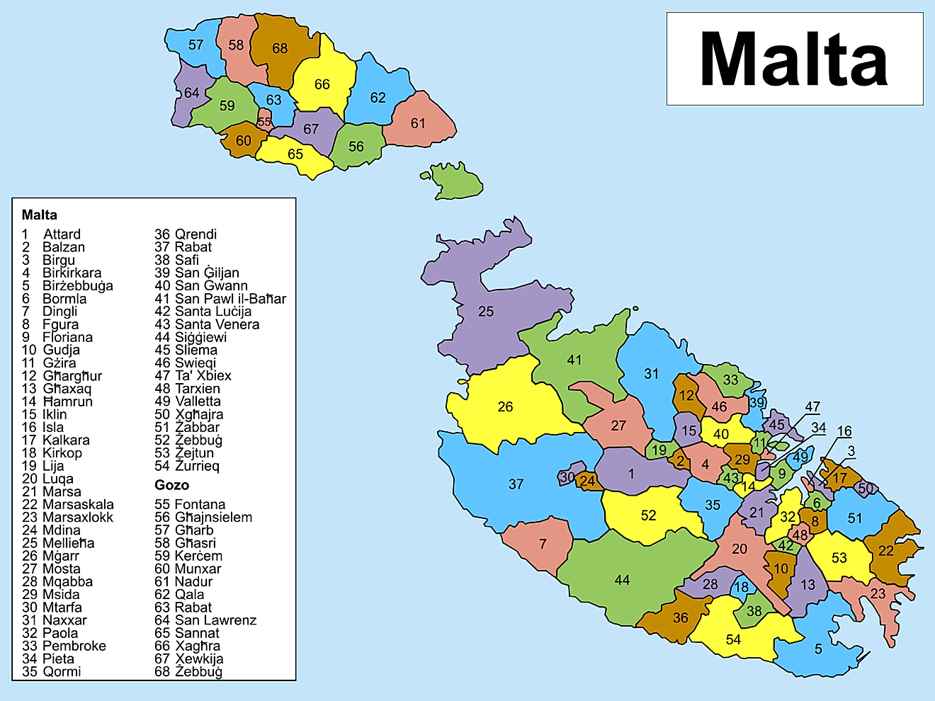 Political Map of Malta showing its 68 localities and the capital city Valletta. Credit: Shazz/Wikimedia.org