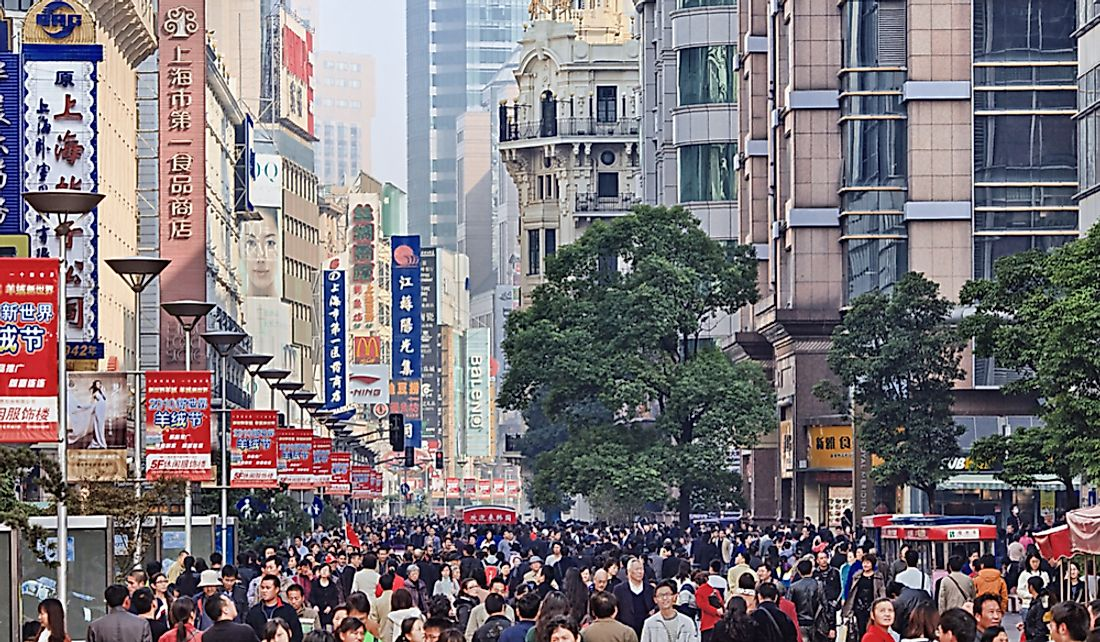Crowd on Nanjing Road in Shanghai, China. Editorial credit: TonyV3112 / Shutterstock.com