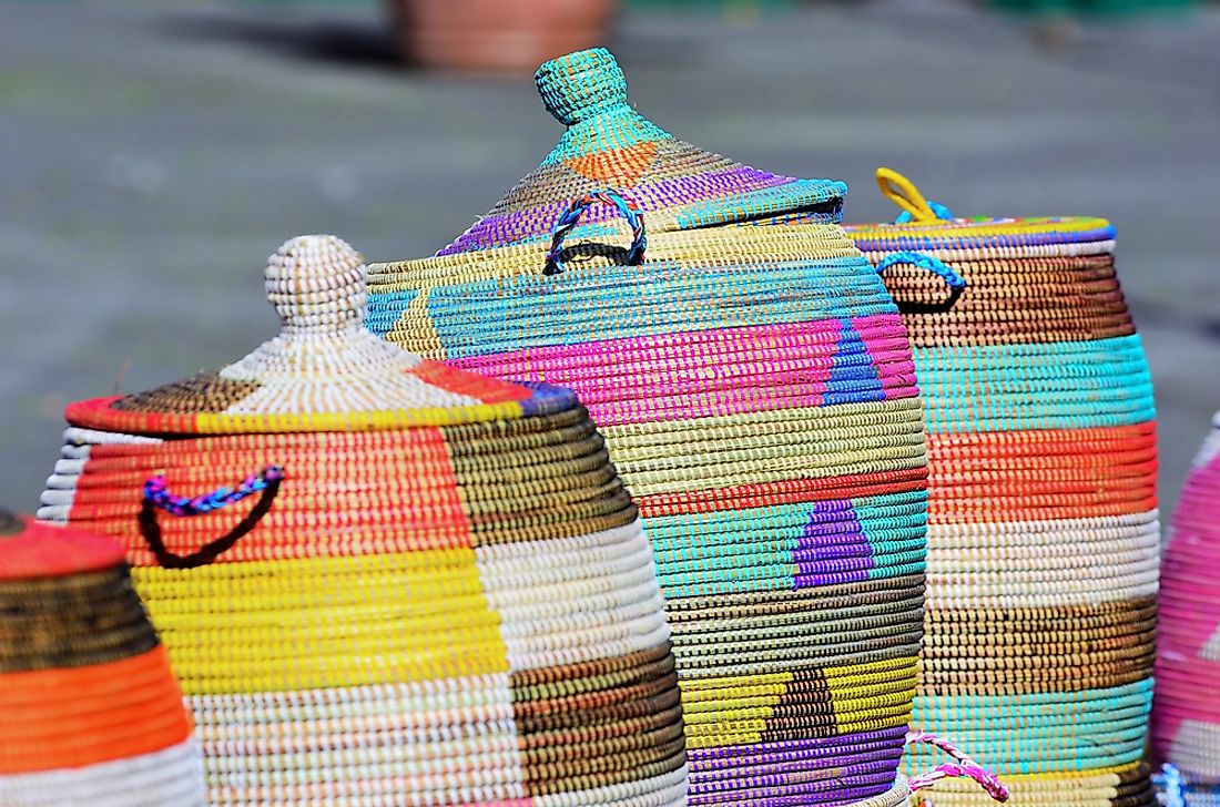 Artisanal baskets for sale in Angola.