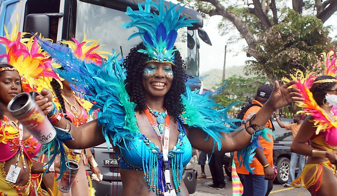 Costumes dancers in the Carnival parade in Castries, Saint Lucia. Editorial credit: Angela N Perryman / Shutterstock.com