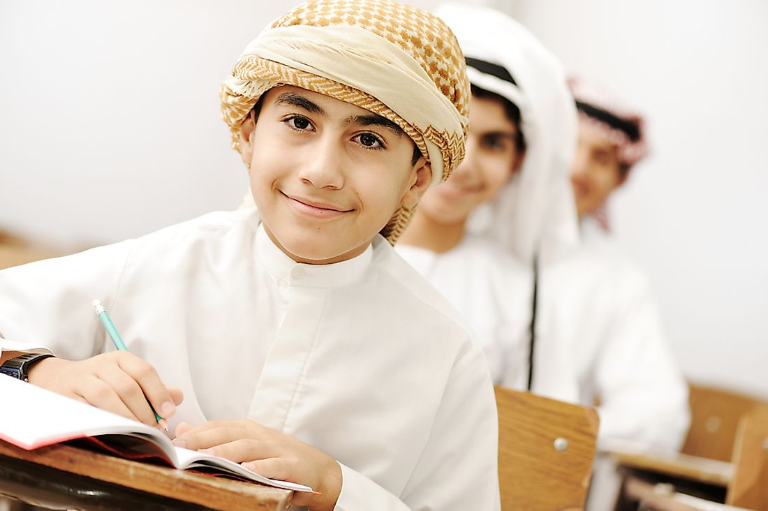 Students in a classroom in Saudi Arabia.