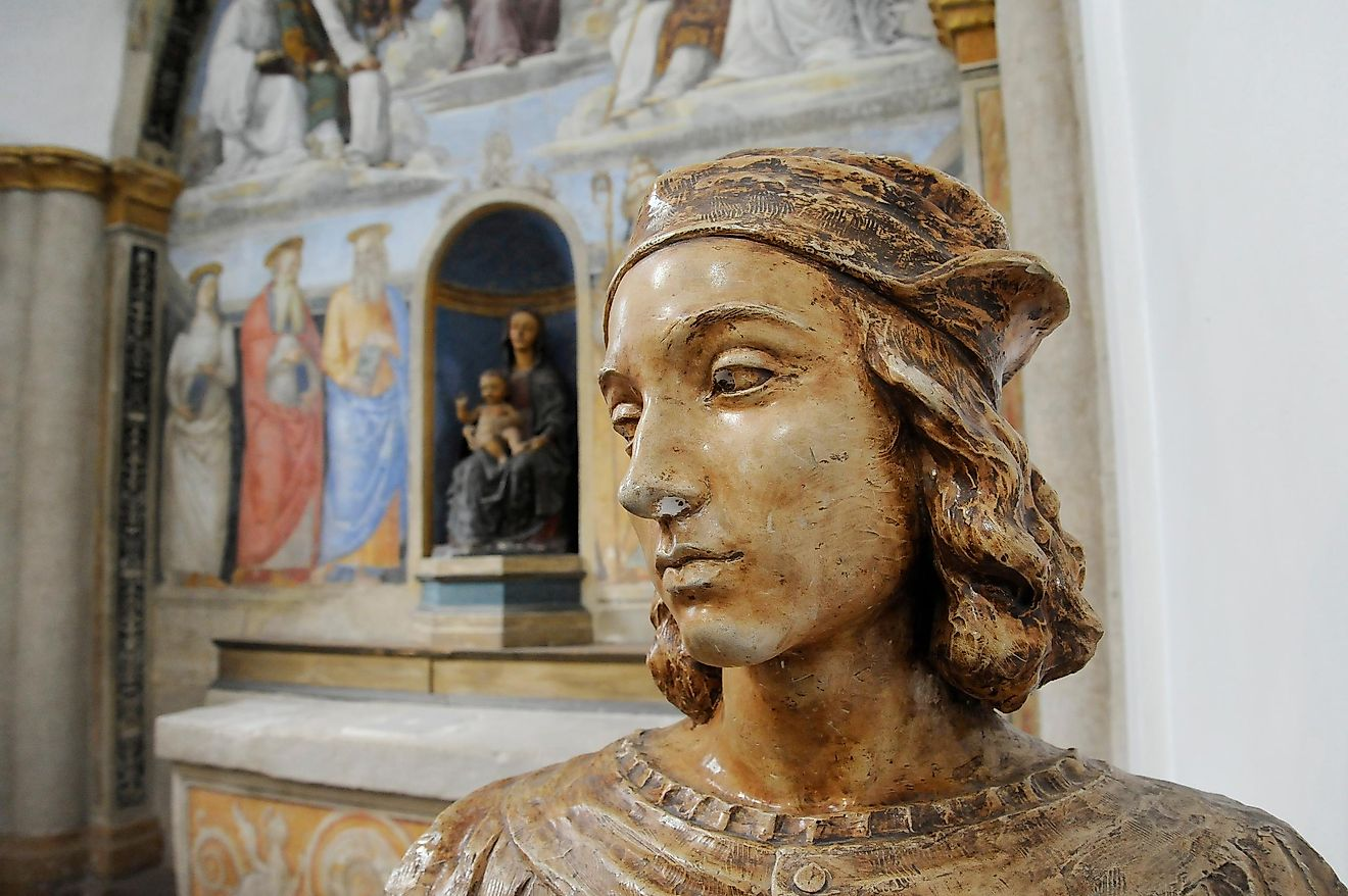 Bust of Raffaello Sanzio, known as Raphael.