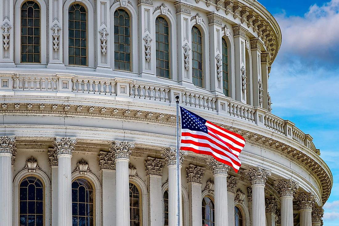 American flag in front of the Capitol Building in Washington, DC.