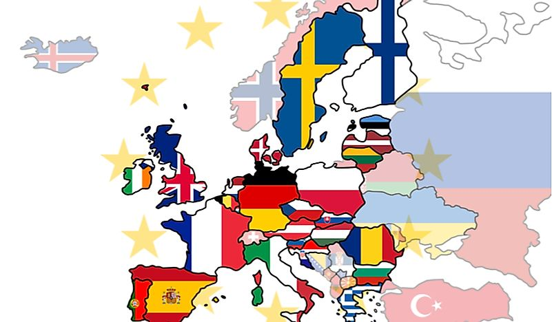 A map of Europe with the non-EU countries greyed out.