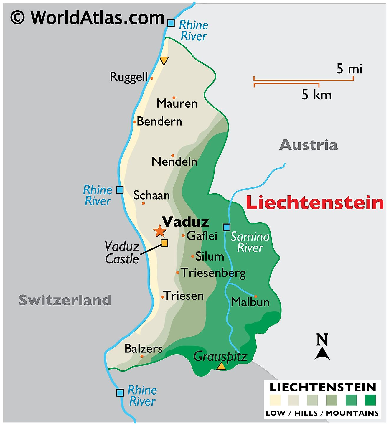 Physical Map of Liechtenstein showing terrain, highest and lowest points, major rivers, international boundaries, etc.