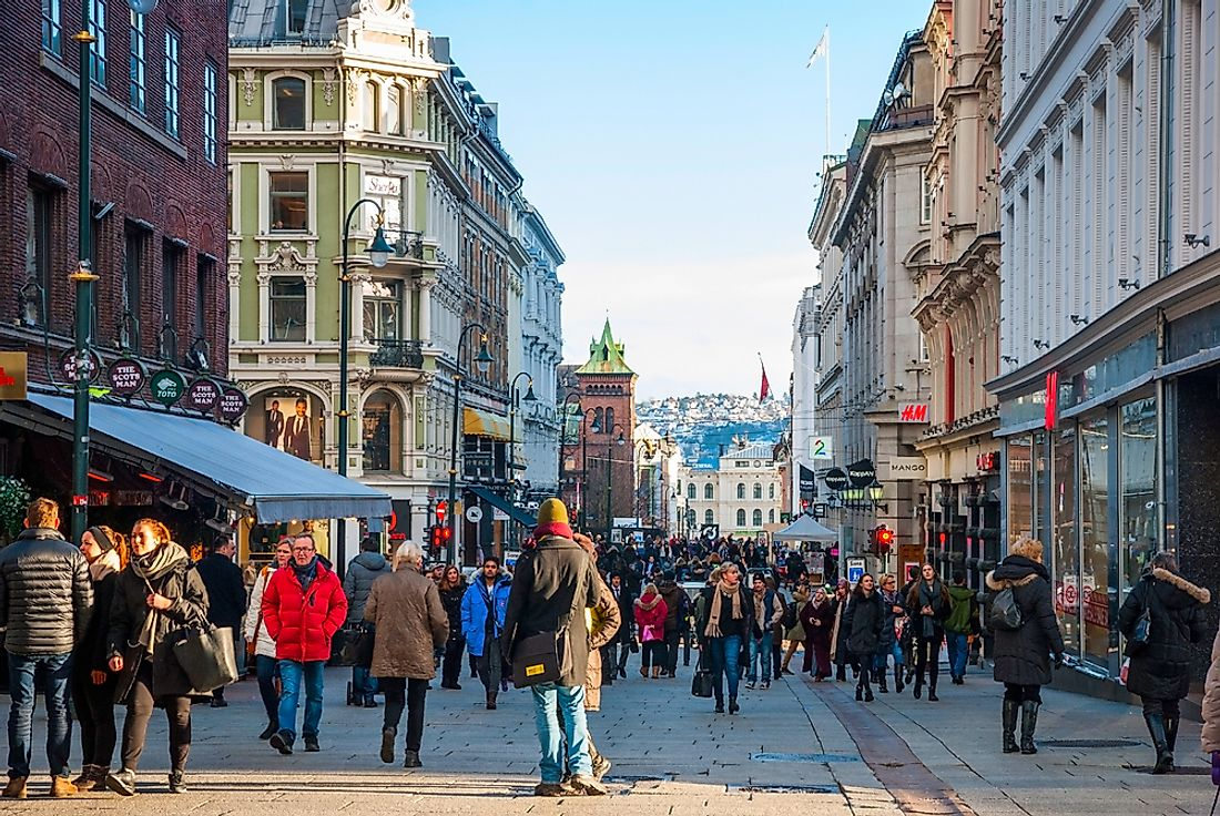 A busy street in Oslo, Norway. The Scandinavian country recently ranked as the world's best place to live. Editorial credit: Ana Flasker / Shutterstock.com.