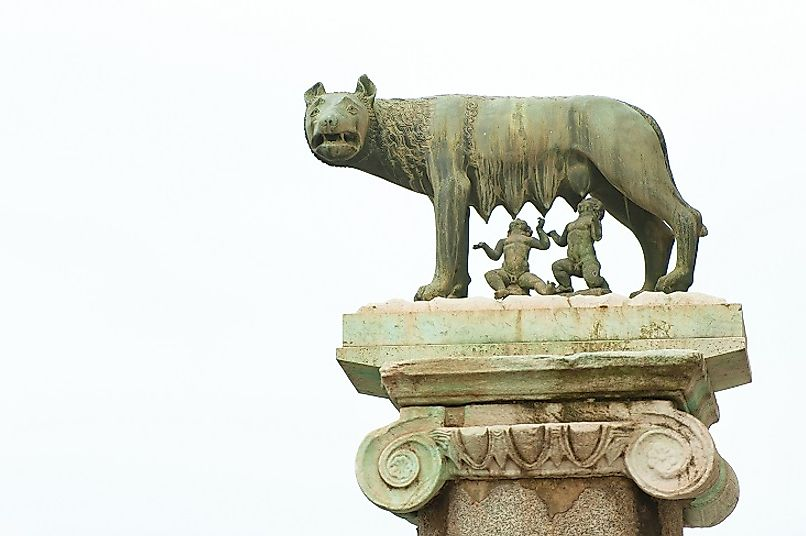 Romulus and Remus being nursed by a legendary wolf. Romulus was the first of the Seven Kings to head the Roman Kingdom.