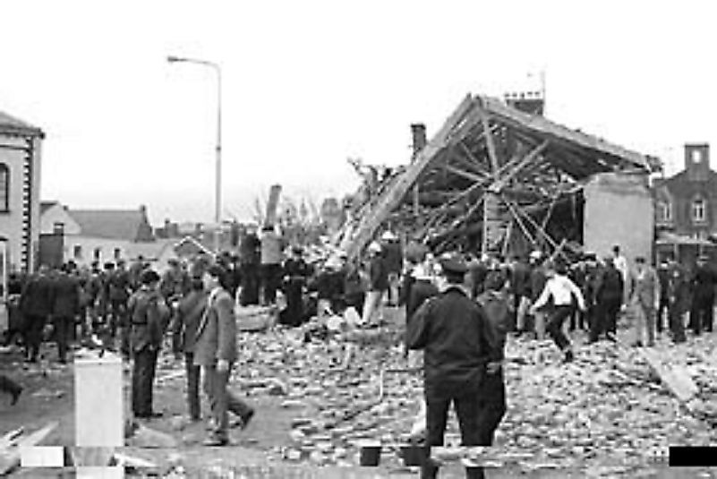 Bombings lay waste to portions of the town of Enniskillen, Northern Ireland in 1987.