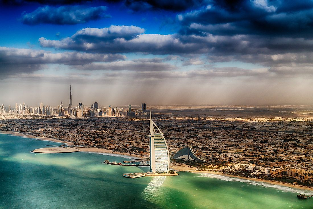 The Burj Al Arab Hotel in Dubai, built on its own artificial island, is known as the world's only 7-star hotel.  Editorial credit: GagliardiImages / Shutterstock.com