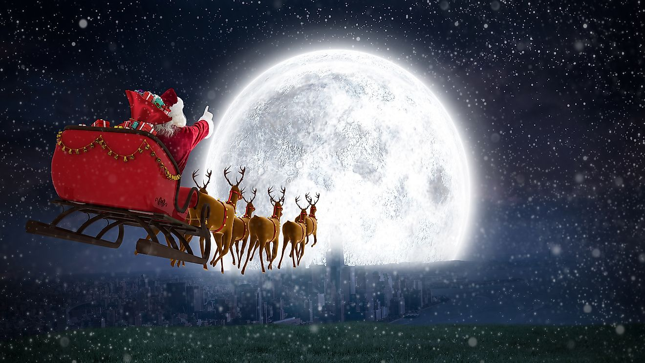 Are the reindeer accompanying Santa male or female?