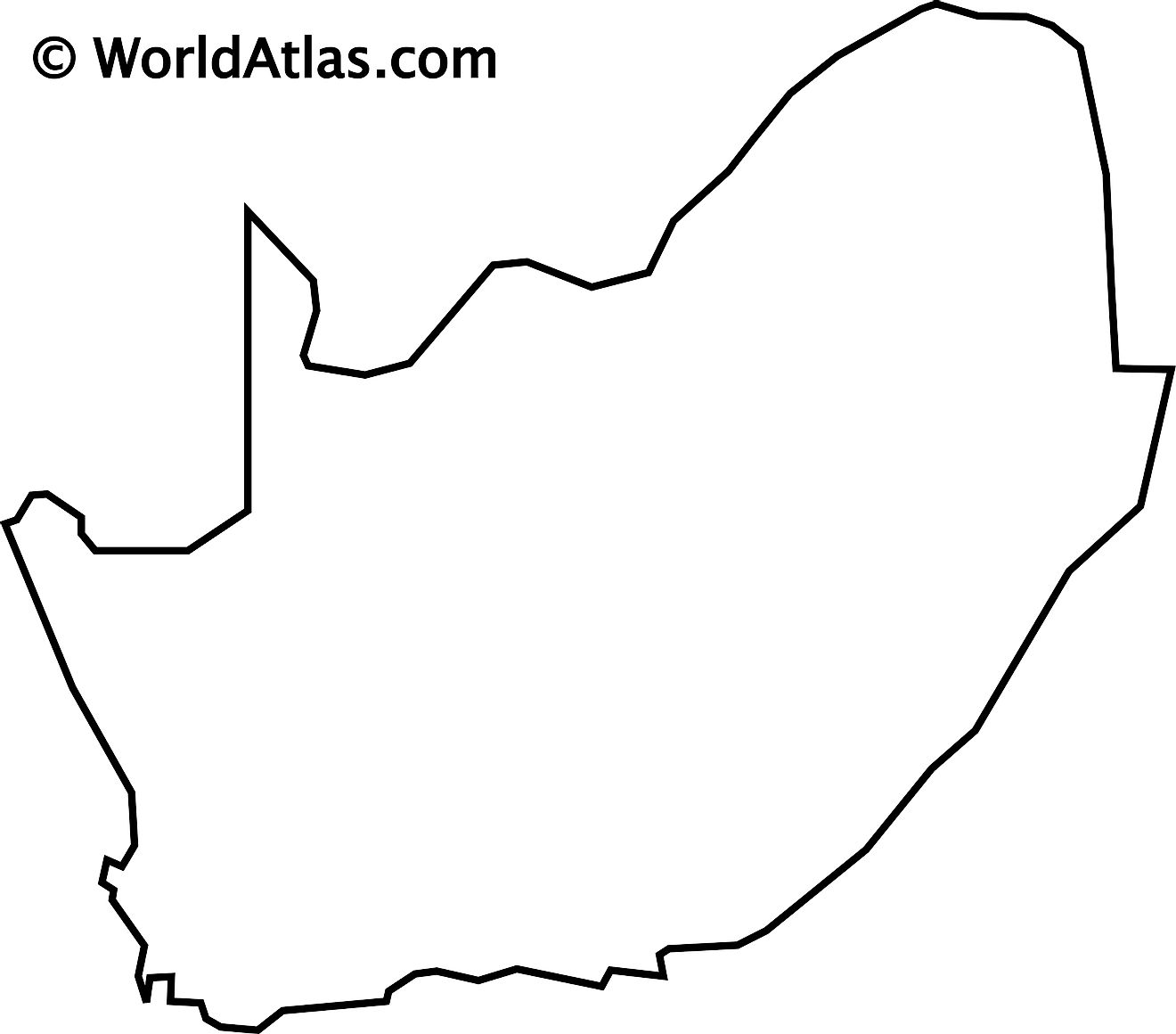 Blank Outline Map of South Africa