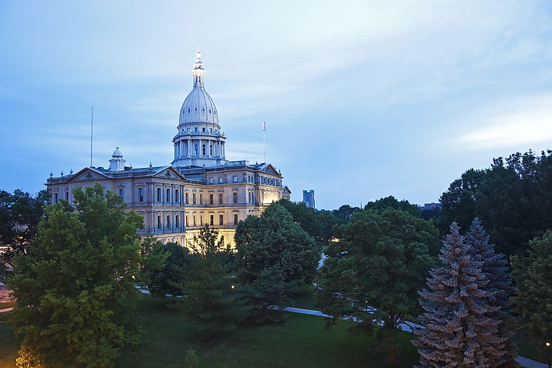 The Michigan state capitol in Lansing, Michigan.
