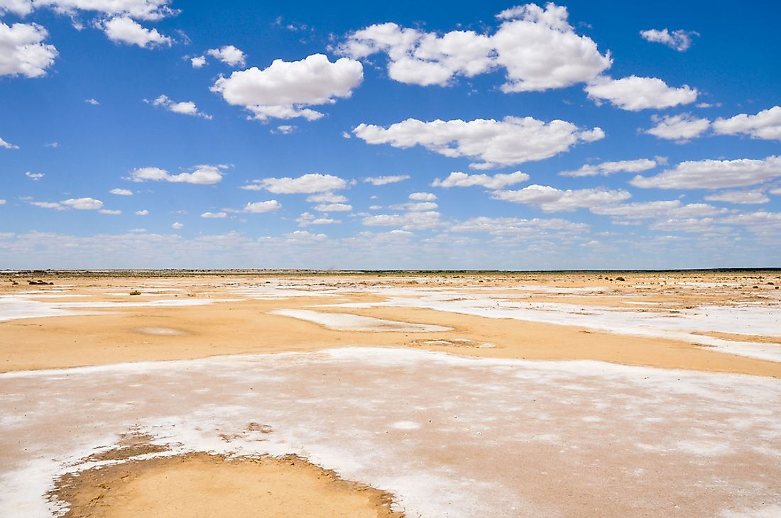 Lake Eyre, the lowest point in Australia.