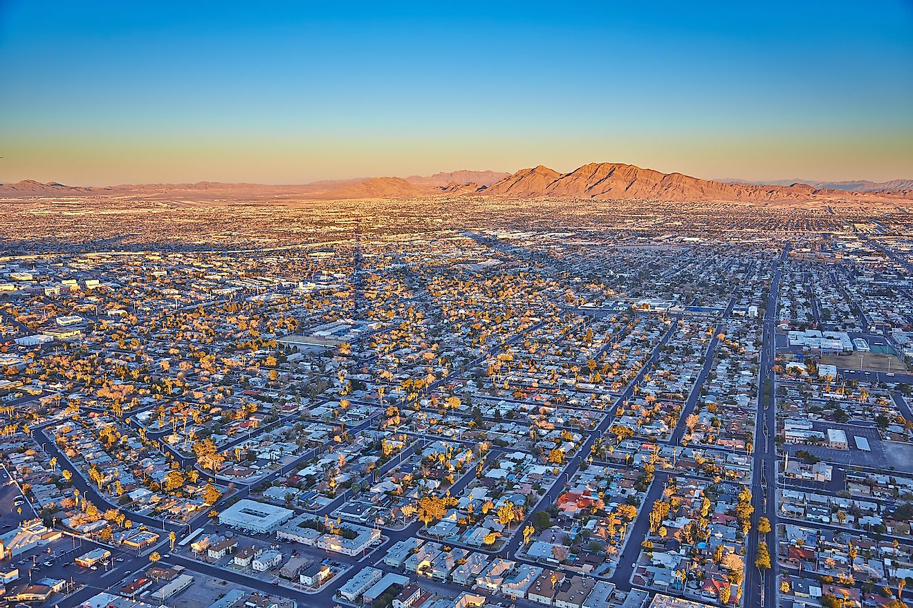Top view of the sunset, mountains and houses, Las Vegas, Nevada, USA. Image credit: Yuriy Y. Ivanov/Shutterstock.com