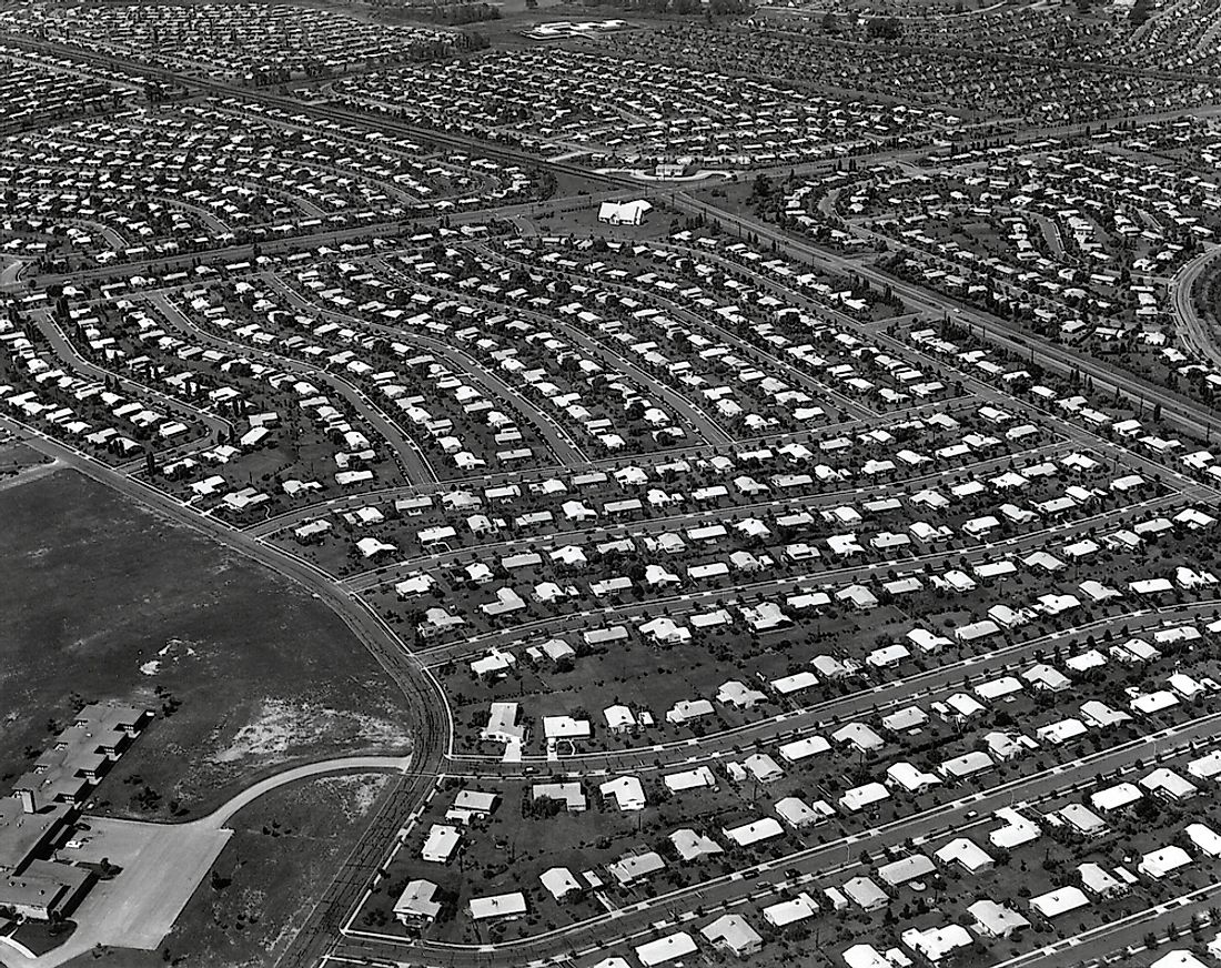 An aerial view of Levittown, Pennsylvania.