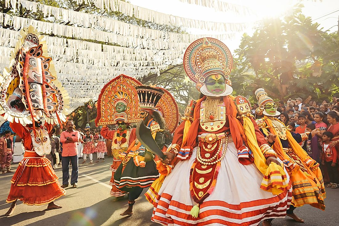 Kathakali, a unique dance form originating in South India. Editorial credit: Dmytro Gilitukha / Shutterstock.com.