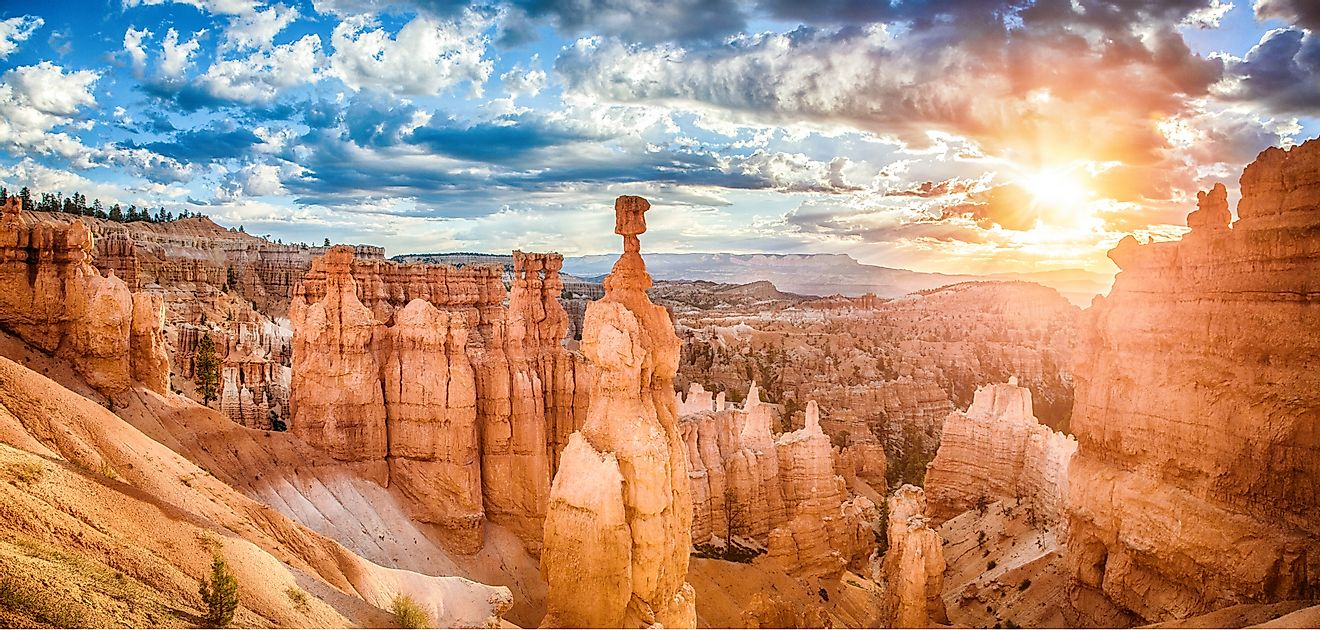 Hoodoos sandstone formations in scenic Bryce Canyon National Park in beautiful golden morning light at sunrise with dramatic sky and blue sky, Utah, USA