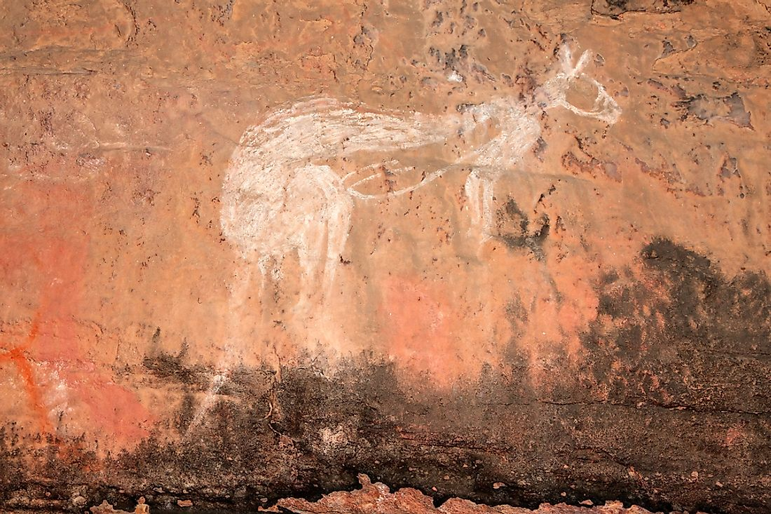 Aboriginal rock art of a kangaroo at Kakadu National Park, Australia.
