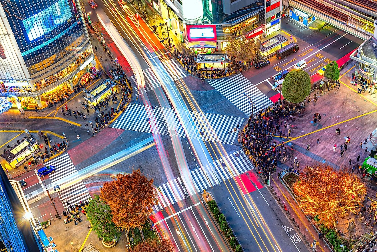 Aerial view of Shibuya Crossing, Tokyo. The scramble crosswalk is one of the largest in the world.