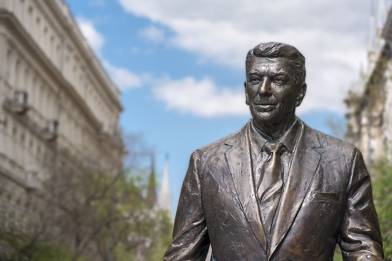 A statue of the 40th US President erected in Budapest, Hungary. Some credit Reagan's diplomacy with helping to topple the former USSR & Eastern Bloc.