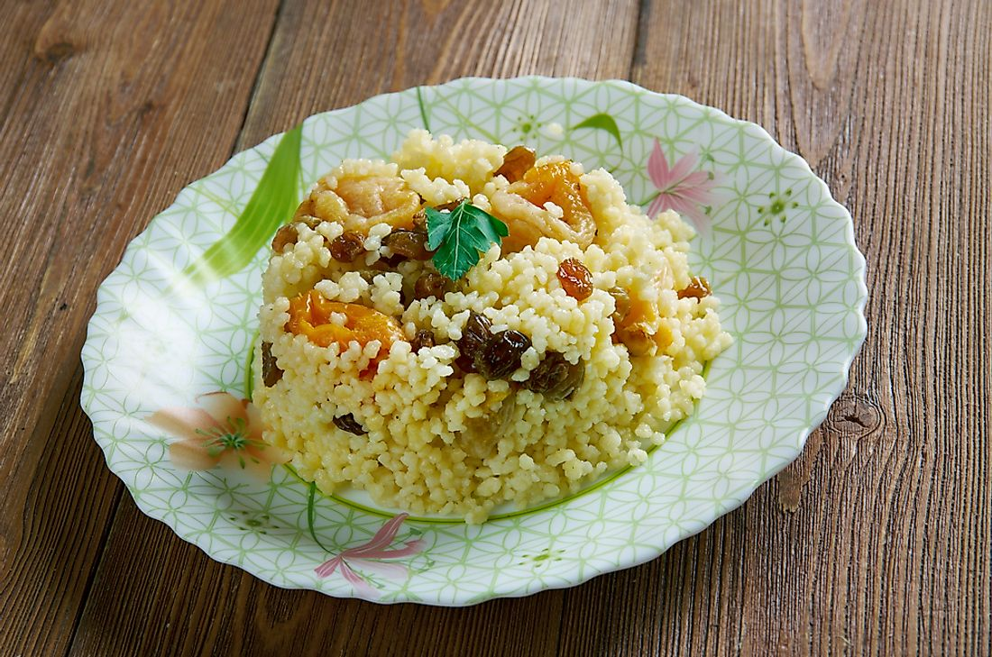 Algerian couscous seen with dried fruit.