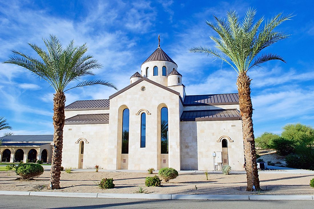 Saint Garabed Armenian Apostolic Church of the Desert in Rancho Mirage, California. Editorial credit: Philip Pilosian / Shutterstock.com