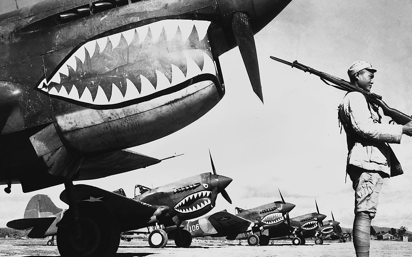 Chinese soldiers protect American planes in World War II.
