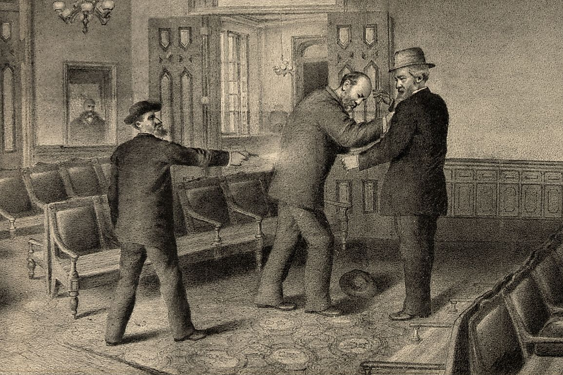Engraving of the assassination of President Garfield by Charles Guiteau on July 2, 1881.