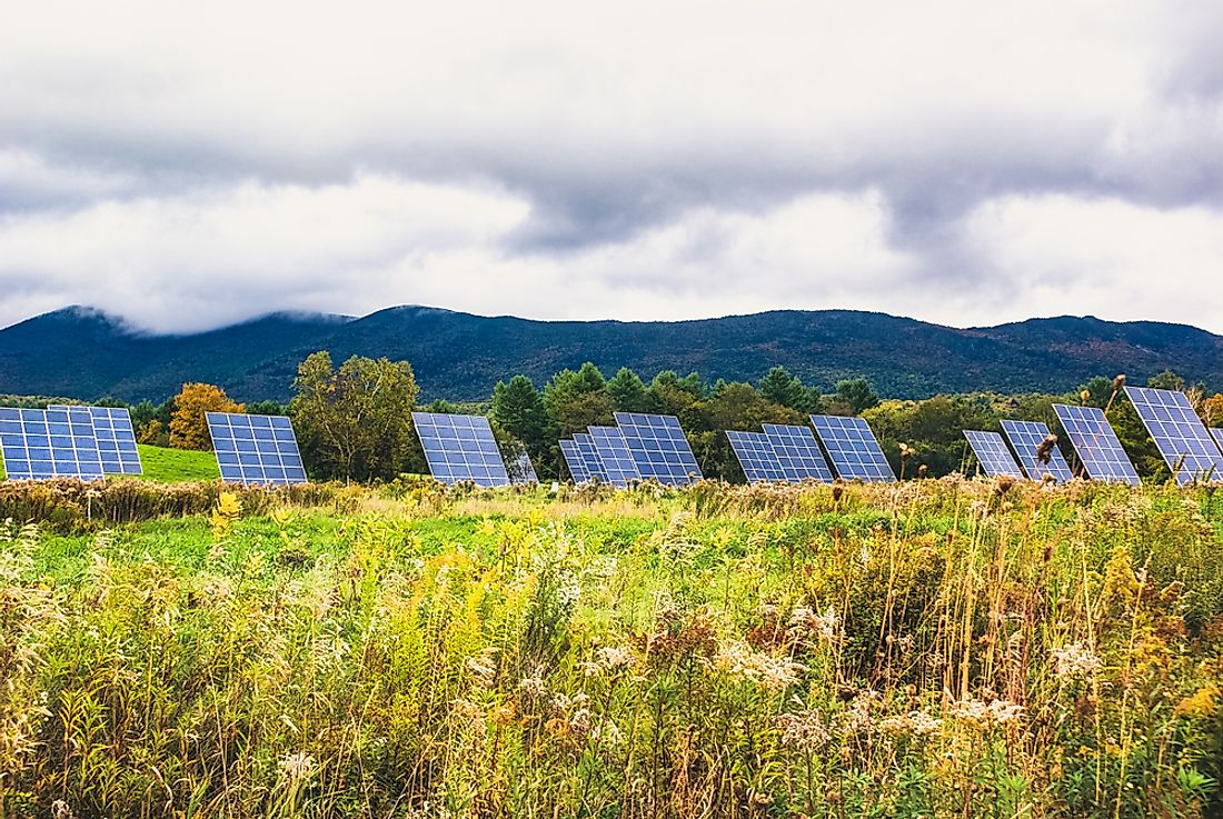 Solar panels in a Vermont field.