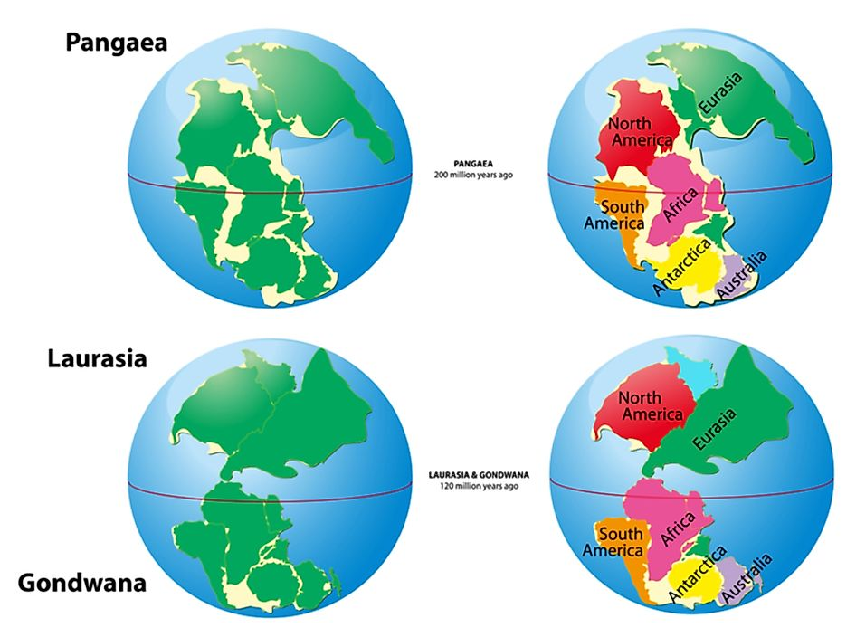 Pangea, Laurasia, and Gondwana are all examples of supercontinents.