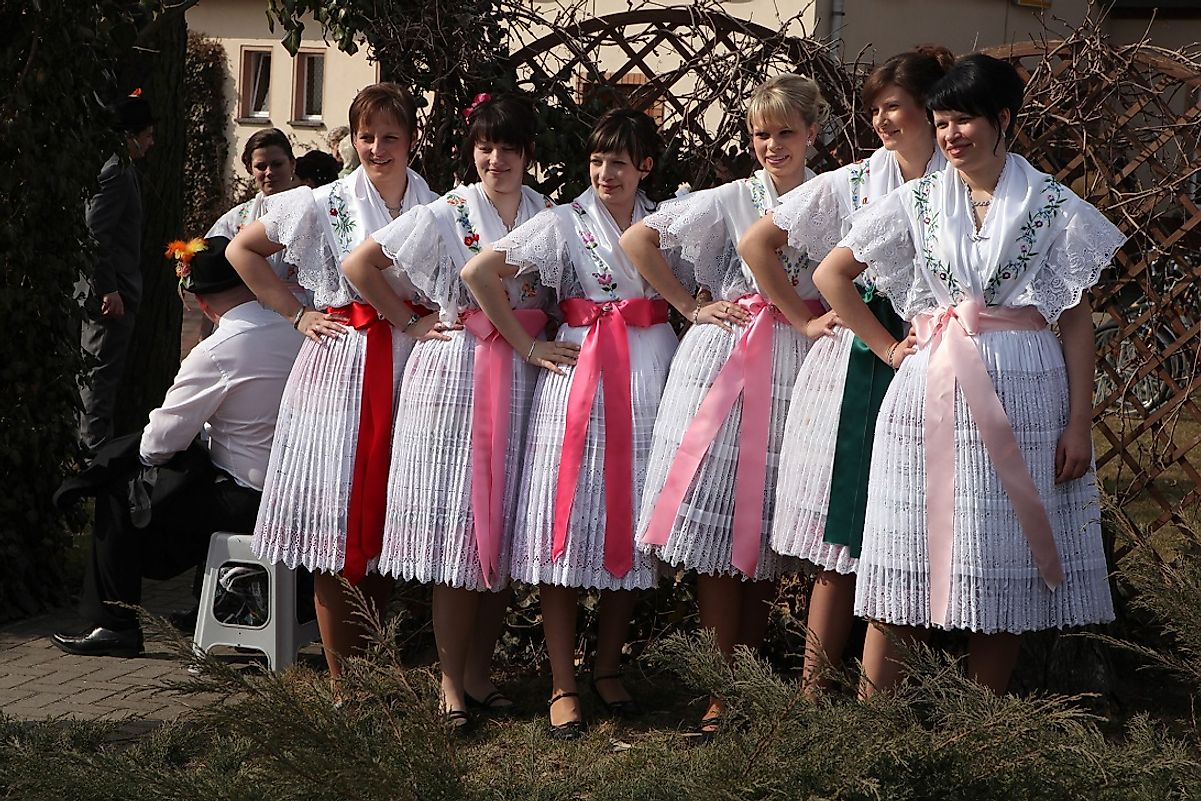 Sorb women in traditional festive attire at a carnival in Turnow, a village in Lower Lusatia in the German state of Brandenburg near the Polish border.