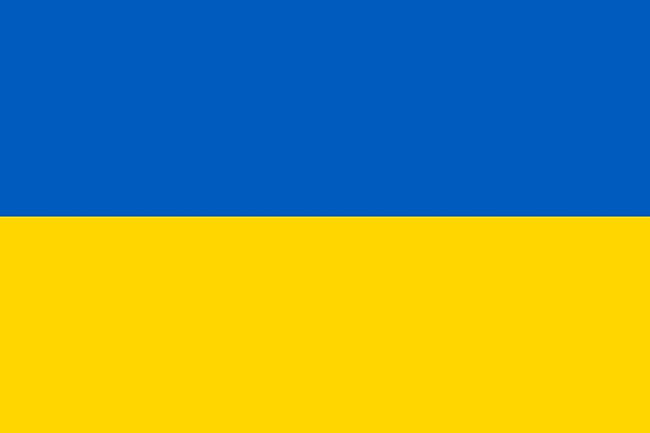 The flag of Ukraine features yellow (or gold) and blue.