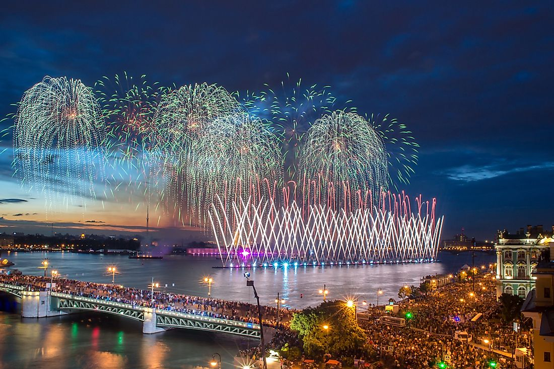 Celebrations signifying the White Night's Festival in St. Petersburg, Russia.