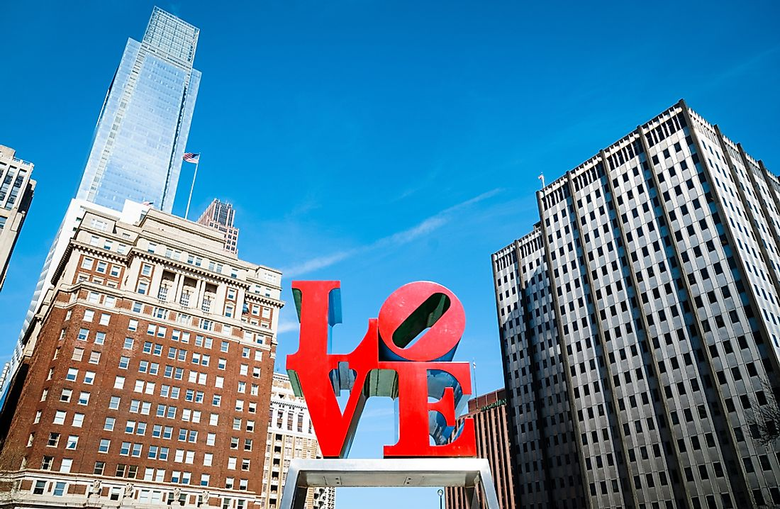 "Downtown Philadelphia with its iconic ""LOVE"" sign."