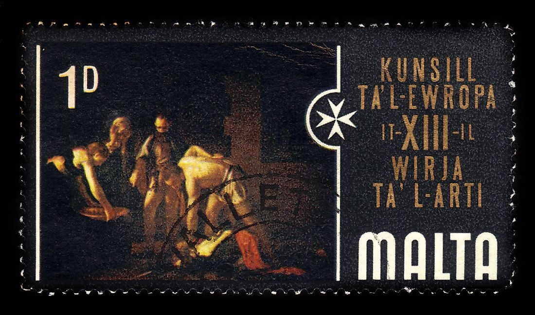 A stamp depicting Caravaggio's The Beheading of Saint John the Baptist.  Editorial credit: irisphoto1 / Shutterstock.com