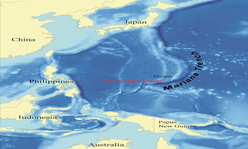 A map showing the location of the Mariana Trench, the deepest oceanic trench known to mankind.