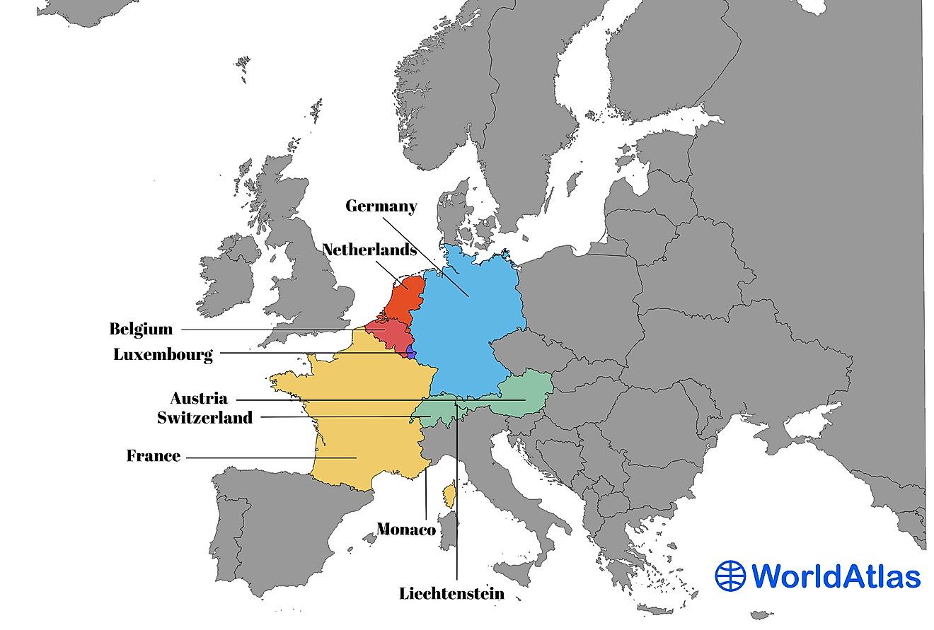 The 9 countries of Western Europe.