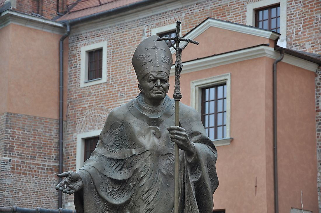 A statue dedicated to Pope John Paul II in Krakow, Poland.