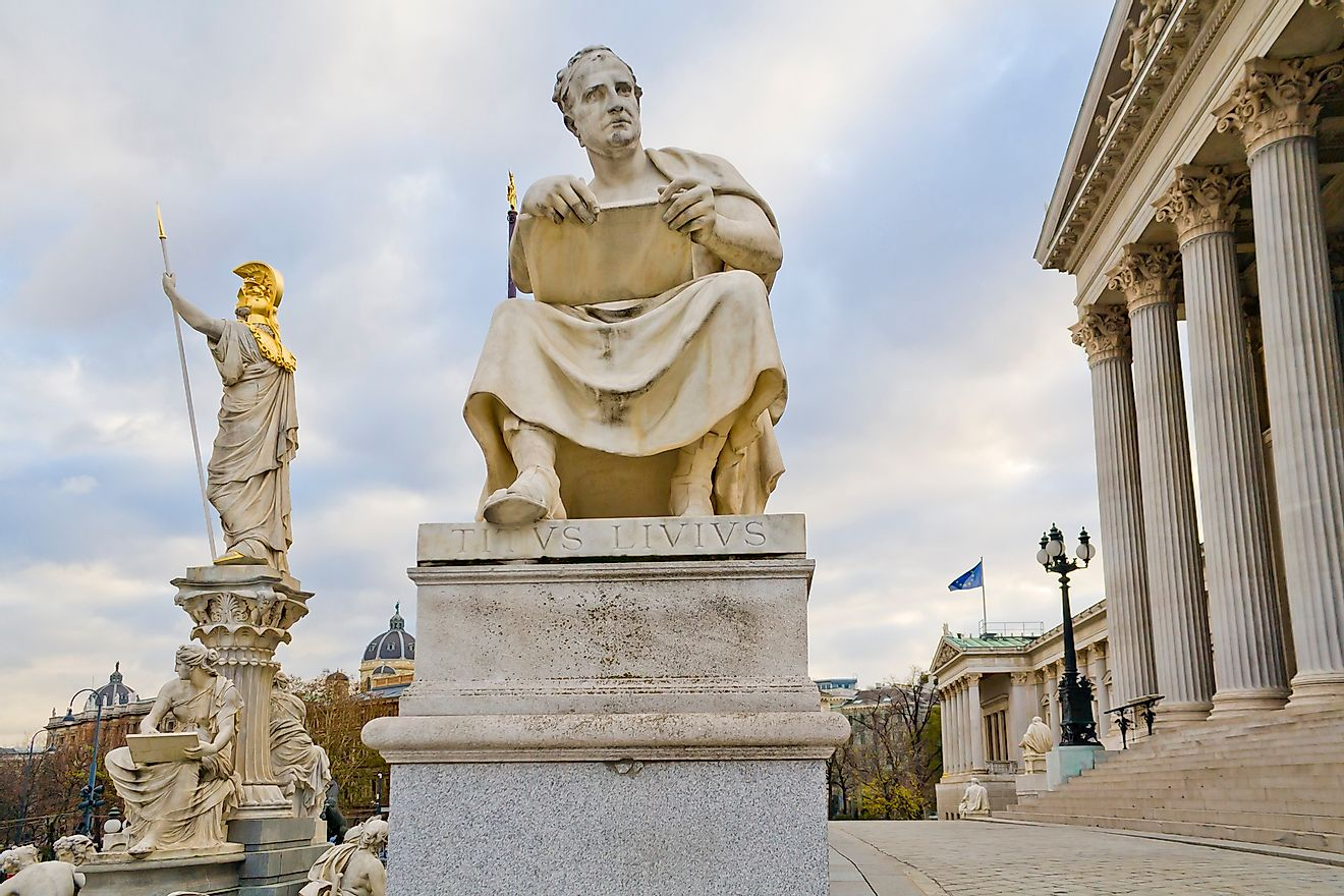 Sculpture of Titus Livius Patavinus (Livy) outside the Austrian Parliament in Vienna, Austria. Image credit: Kizel Cotiw-an/Shutterstock.com