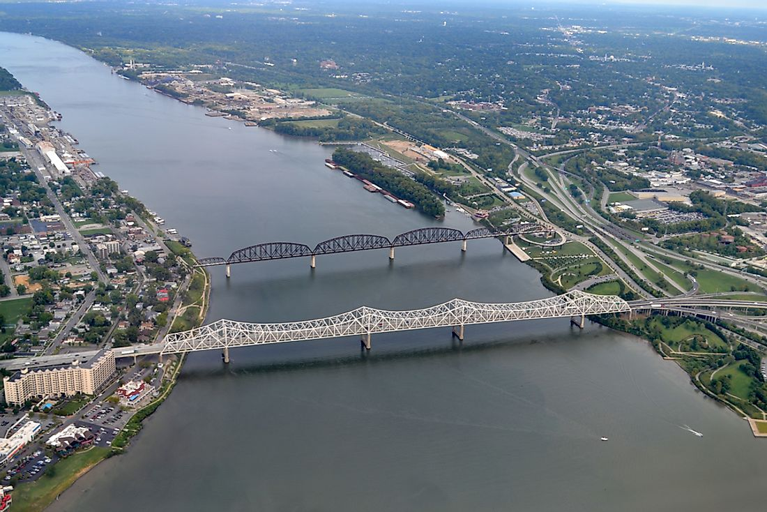 The Ohio River creates a natural border between the cities of Jeffersonville, Indiana and Louisville, Kentucky.