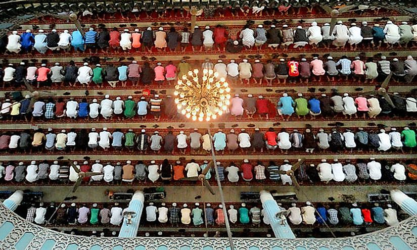 Muslims praying in a mosque in Bangladesh.