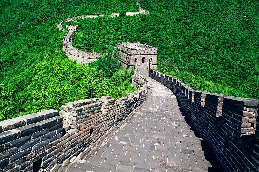 Much of the Great Wall of China running through the mountains is made of stone and bricks.