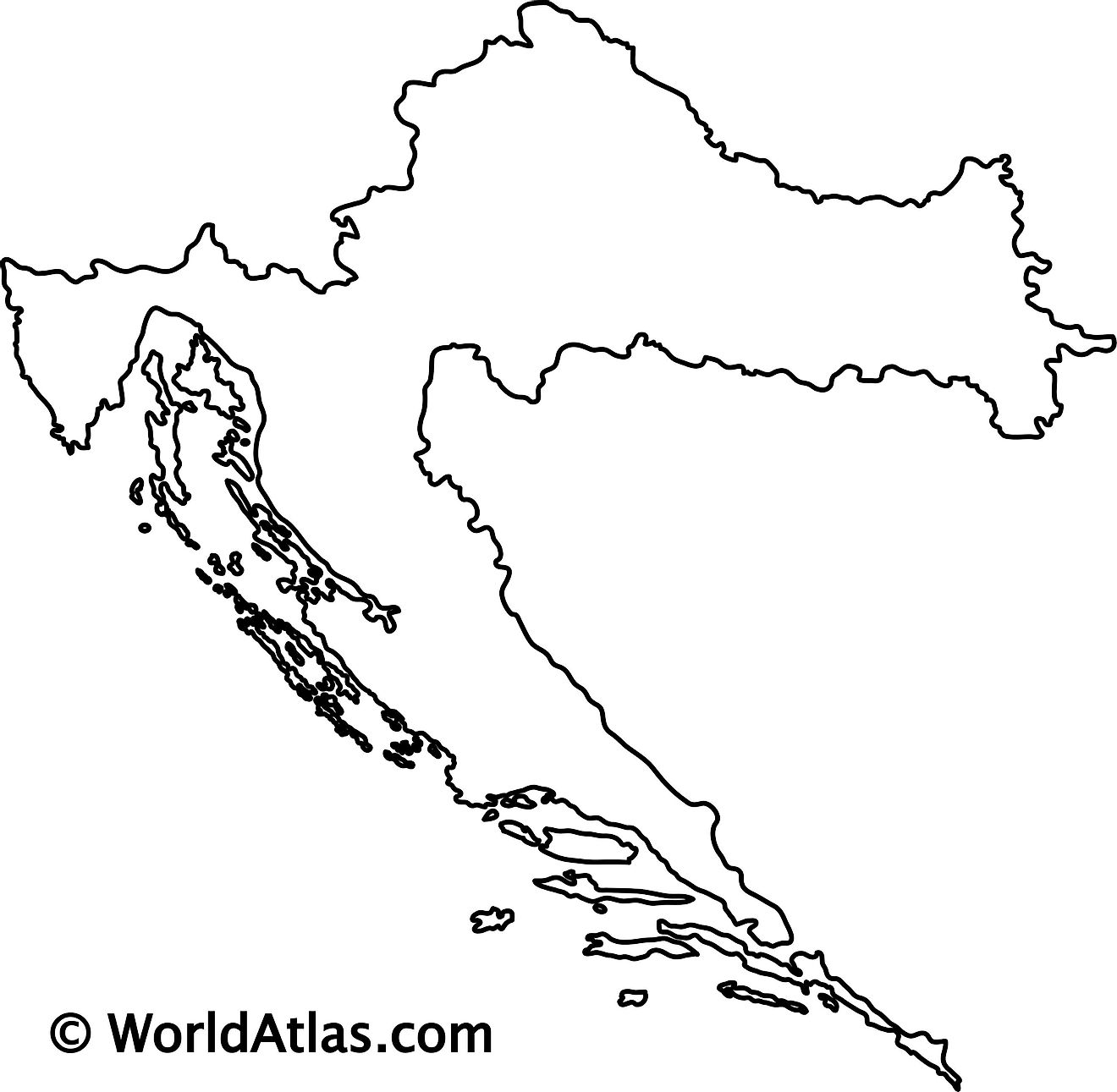 Blank Outline Map of Croatia