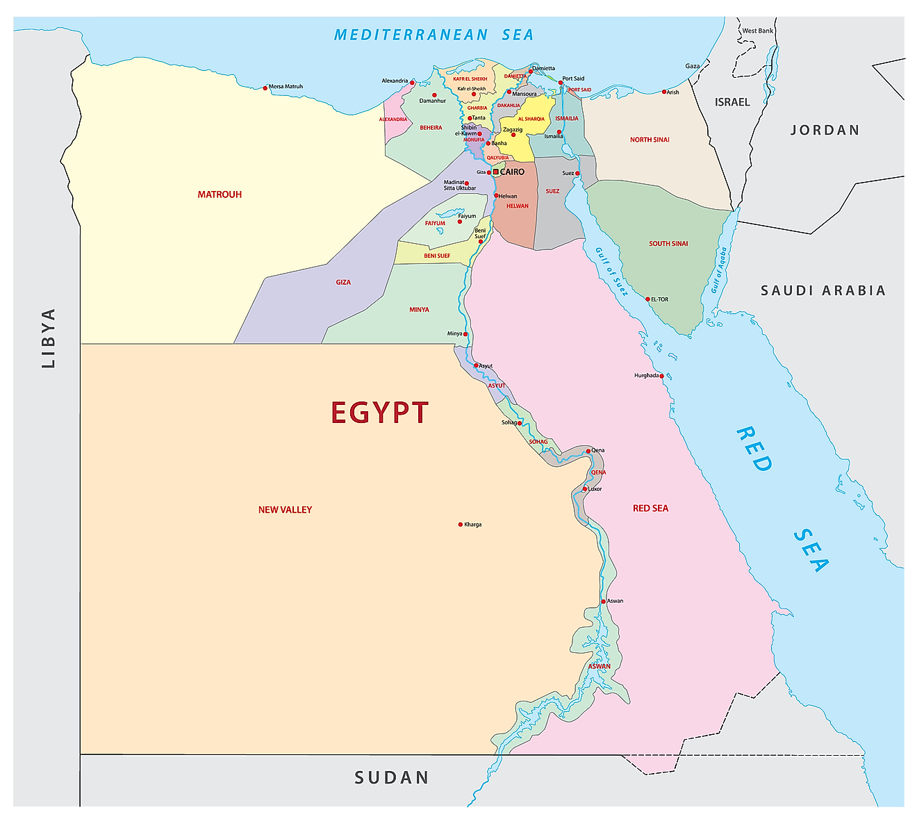 Political Map of Egypt displaying 27 governorates, their capitals, and the national capital of Cairo.