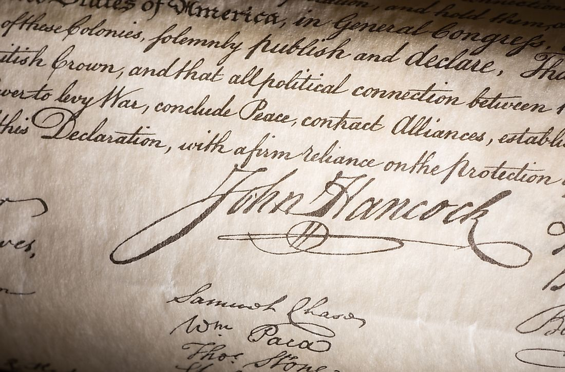As the president of the Continental Congress, John Hancock lead the congress in the drafting, adoption, and signing of the Declaration of Independence.